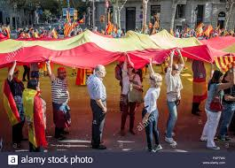 anti independence catalan protestors carry spanish flag during a