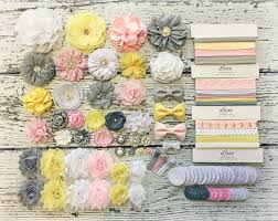 baby shower headband kit pink grey yellow white mom to bee