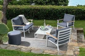 canape jardin aluminium timber de talenti salon de jardin aluminium et teck tissu denim
