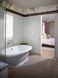 modern barn door bathroom contemporary with en suite white door