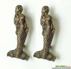 solid brass ls antique 4 64 inches lot of 2 pcs vintage mermaid fantasy island tale knob