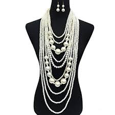 chunky pearl statement necklace images Fashion 21 women 39 s chunky multi strand simulated pearl jpg