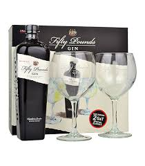 wine glass gift fifty pounds gin 70cl with 2 glasses gift set drinksdirect co uk