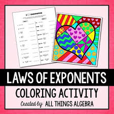 exponent rules coloring activity by all things algebra tpt