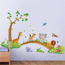 Nursery Decor Stickers Lovely Animals Cross Bridge Bird Flora Baby