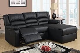 bonded leather sectional sofa amazon com black bonded leather sectional sofa with single recliner