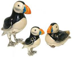 saturno silver and enamel puffin ornaments connard ltd