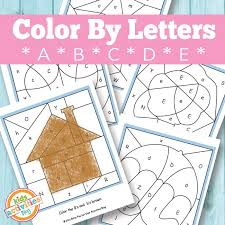 color by letters a b c d e free kids printable letters