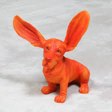 sculptures basset hound ornament orange and blue