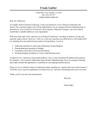 Cover Letter For Testing Job by Best Chemical Technicians Cover Letter Examples Livecareer