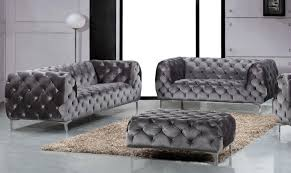 Modern Sofa And Loveseat Meridian Furniture Mercer 646gry S 2pc Modern Tufted Grey Velvet