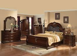 4 pc cherry finished cal king sleigh bed set w espresso faux leather