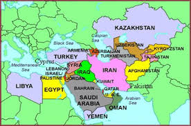 middle east map with country name middle east map with country names