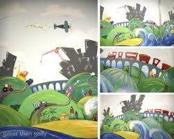 murals sillier than sally fine art and design sillier than sally construction mural for boys room buildings trucks trains