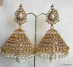 big jhumka gold earrings polki gold tone big jhumka dangler earrings buy big jhumka big