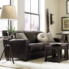 classic dark brown leather sofa from bassett family room