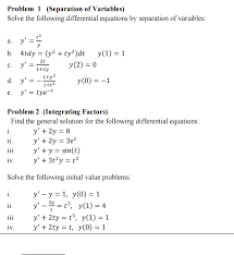 solve the following differential equations by sepa chegg com