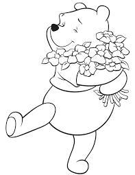 winnie pooh hugging flowers coloring u0026 coloring pages