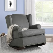 Rocking Chairs For Nursery Cheap Bed Bath Modern Charcoal Grey Wingback Rocking Chair With