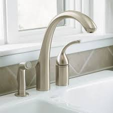 three kitchen faucets kohler faucet k 10430 vs forte vibrant stainless steel one handle