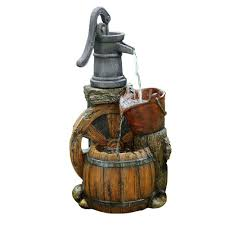 Home Depot Water Pump Alpine 24 In Old Fashion Pump Barrel Fountain Wct688 The Home Depot