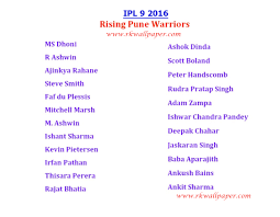 2016 ipl match list ipl 2016 rising pune supergiants team players name list girls