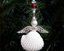christmas angel seashell ornament set of 3 metallic gold angel