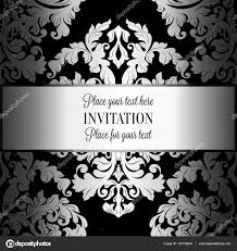 Black And White Invitation Card Baroque Background With Antique Luxury Gray Black And Metal