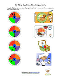 my plate mealtime kids matching activity worksheet