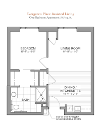 One Bedroom Apartment Floor Plans by Floor Plans Evergreen Senior Living In Orland Park Il