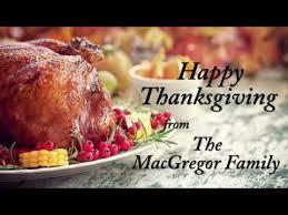 sen macgregor wishes everyone a happy thanksgiving