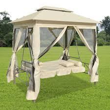 Outdoor Canopy Chair Luxury Outdoor Gazebo Swing Chair Sunbed Cream White Vidaxl Com