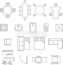 Furniture For Floor Plans Furniture Linear Vector Symbols Floor Plan Icons Set Vector Art