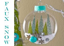 recycled book trees and faux snow ornament with mod podge