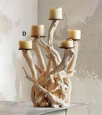 roost natural ivorty vertical driftwood candelabra u0026 pillar candle