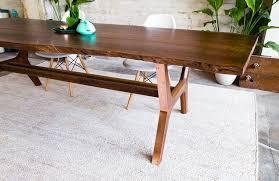 the april walnut live edge dining table copper slab