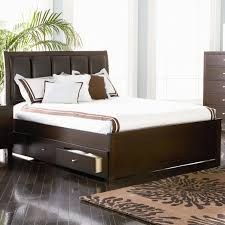 Bed With Headboard And Drawers Bedroom Dark Wooden Queen Size Bed With Dark Leather Headboard