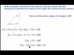 Measures Of Interior Angles Sum Of The Interior Angles Of A Triangle Geometry And Algebra 6j