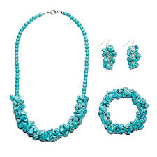 bracelet necklace images Turquoise chip bracelet necklace earrings sets handmade cluster jpg