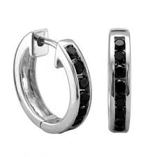 white gold huggie earrings unisex hoop earrings with ctblack diamond in white gold