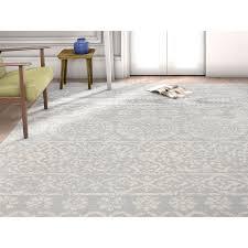 Tile Area Rug Signora Grey Vintage Floral Tile Pile Modern Area Rug