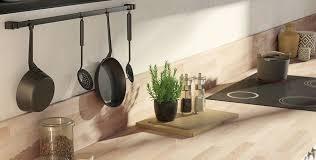 cuisine avec plan de travail en bois plan de travail et crédence cuisine leroy merlin