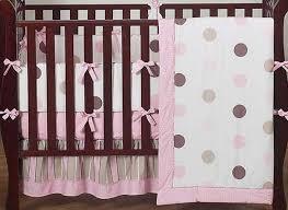 Pink Brown Crib Bedding Polka Dot Crib Bedding Modern Bedding Bed Linen