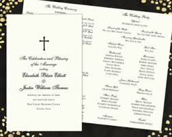 traditional wedding program navy blue wedding programs gold wedding programs satin