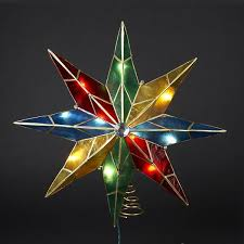 tree topper 14 inch lighted 5 point capiz multicolor christmas tree