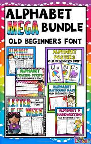 alphabet mega bundle qld beginners font worksheets posters