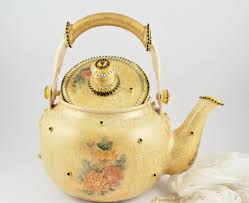 Vintage Chic Home Decor Shabby Chic Teapot Chabby Chic Home Decor Beige Christmas Gift