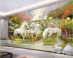 online get cheap unicorn wall mural aliexpress com alibaba group custom photo 3d room wallpaper forest bridge fairyland unicorn decoration painting 3d wall murals wallpaper for