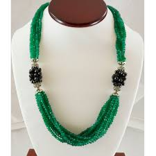 black natural stone necklace images Green onyx sterling silver necklace 925 semi precious stone black jpg