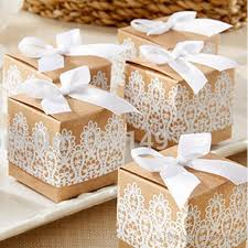 christmas kraft wrapping paper candy box kraft paper gift packing square white lace hollow